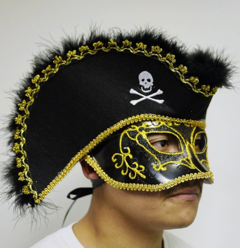 Venetian Mask Masquerade Pirate Hat BLACK & GOLD Mardi Gras