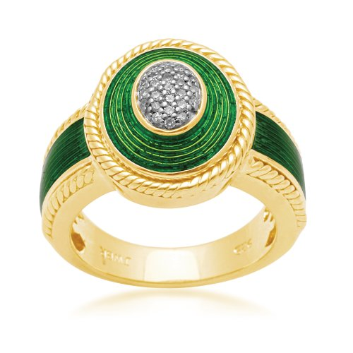 Jewelili 18k Gold Plated Sterling Silver with Green Enamel Diamond Ring (1/10 Cttw, IJ Colour, I2/I3 Clarity), Size 7