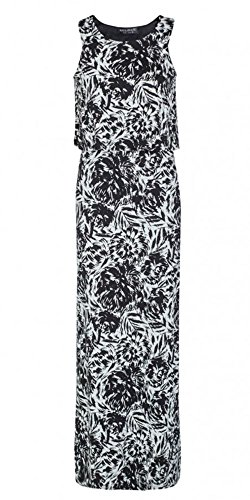 Womens Tie Dye Floral Double Layer Maxi Dress Ladies (6 - Black)