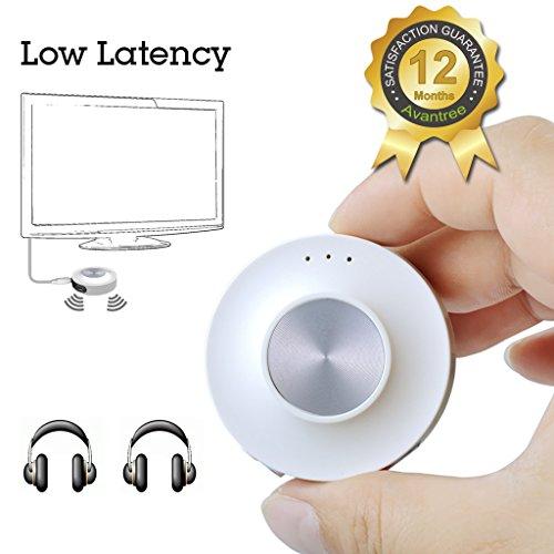 Avantree Trasmettitore Audio Bluetooth V4.1 a BASSA LATENZA Certificata (aptX LL) per Televisori, con batterie interna | Adattatore Audio senza fili |Doppio link per Cuffie - Priva II