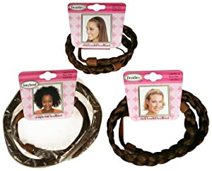 Tonytail Braided Headband Package, Light Brown, 3-count
