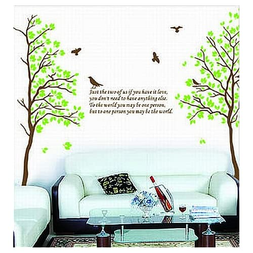 Two Trees or Combine for 1 Large Tree Birds Quote Wall Sticker Decal for Kids Room Living Room