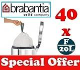 40 x 20L Litre Brabantia Smartfix Slimline Bin Liners Waste Bags Sacks Type F 4.4 UK Gal