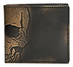 House of Jack Co. Embossed SKULL DOUBLE ID Bifold Men\'s Wallet - Multifunction Design - Hand Burnished Finish