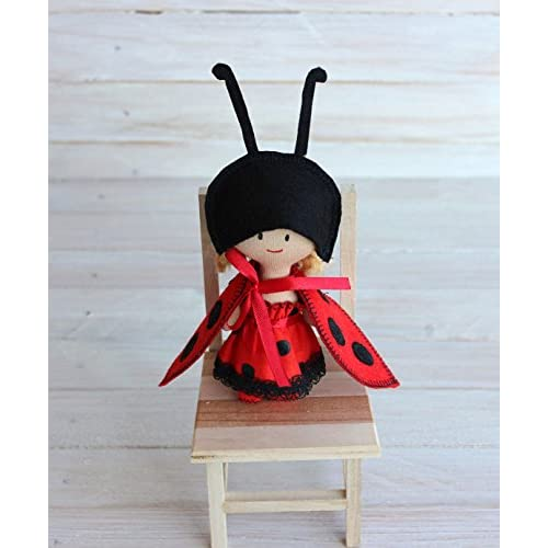 Mini Doll ladybug Rag doll ladybird child friendly red ladybird doll lady-beetle textile doll gift for Christmas gift for girls