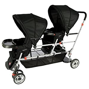 Joovy Big Caboose Stand-On Tandem Triple Stroller Black
