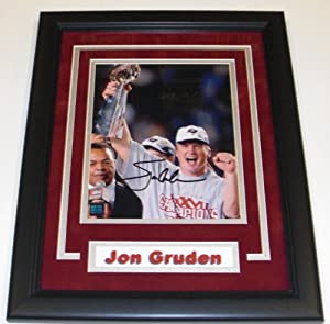 Jon Gruden Autographed Hand Signed Tampa Bay Buccaneers 8x10 Photo - Custom FRAME by Real Deal Memorabilia