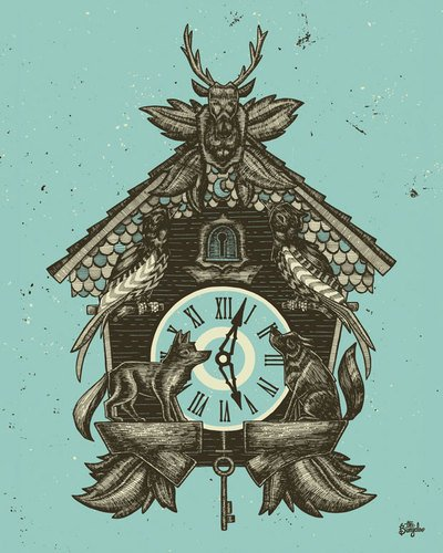 Wheatpaste Art Collective Cuckoo Clock by The Bungaloo Canvas Wall Art, 24 by 30-Inch
