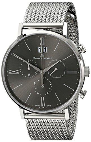 Maurice Lacroix EL1088-SS002-810del hombre Eliros analógico de cuarzo plateado Reloj