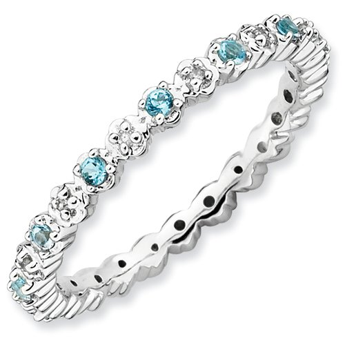 Sterling Silver Stackable Expressions Blue Topaz & Diamond Ring (Size 7)