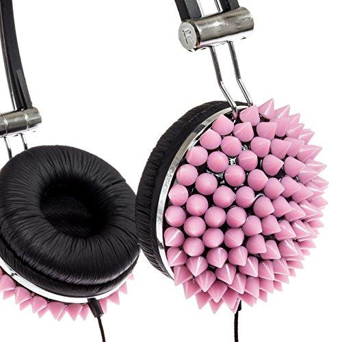 Crystal Case Spiked Dj Stereo Headphones W/ Handsfree Mic (Pink)
