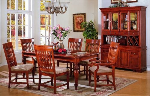 7pc Country Oak Finish Wood Dining Room Table & Chair Set
