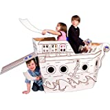 Box Creations 203C Cardboard Pirate Ship With 4 Markers