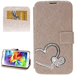 Crazy4Gadget Hairline Texture Heart Diamond Encrusted Flip Leather Case with Holder & Credit Card Slot for Samsung Galaxy S5 / G900 (Golden)
