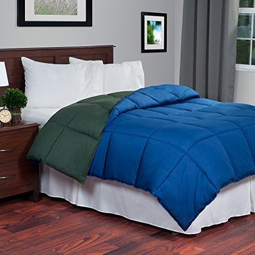 Lavish home reversible down alternative comforter twin - Dark green comforter sets ...