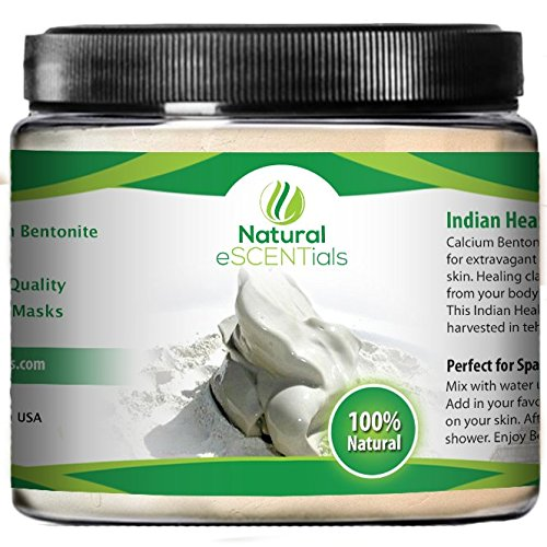 Indian Healing Clay ★ High Quality Organic Calcium Bentonite Detox Powder ★ Pure 100% Organic Clay - Ancient Aztec Indian Secret Cleansing Clay - Finely Milled Powder - Perfect For Spa Quality Masks And Facials - No Risk Satisfaction Guarantee (1Lb)