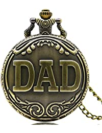 LMP3Creation Bronze Classic Vintage Retro Antique Dad Pattern Chain Pocket Watch For Best Gift To Your Father...