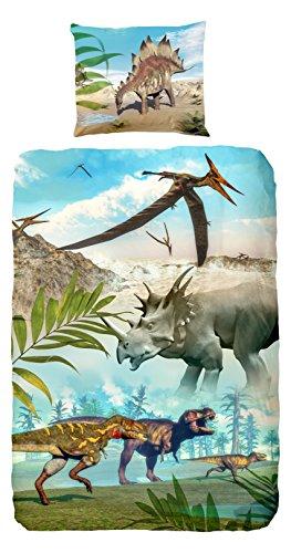 Good-Morning-Housse-de-couette-pour-lit-simple-100-coton-avec-motif-Dinosaures-Multicolore