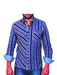 Being hearted men's Stripe Casual Shirt STRP2CLRNAVY _ BLUE_L