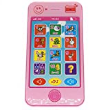 YOYOSTORE Pink Cell Mobile Phone Shape Toy Music Touch Screen Child Education Learning Game Play Cellphone Like for Baby Kids Xmas Gift