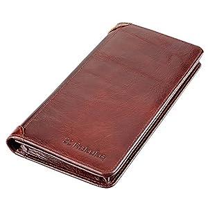 Rakuka メンズ 長財布 二つ折り 本革 小銭入れ 札入れ ファスナー付き 抜群の収納力 シンプル