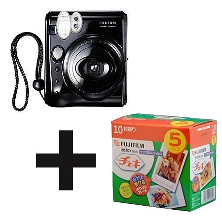 Fujifilm instax mini 50S Instant Film Camera Piano Black with Cheki film 5pack (10picture X5) 5 packs fuji fujifilm instax mini instant film monochrome photo paper for mini 8 7s 7 50s 50i 90 25 dw share sp 1 cameras