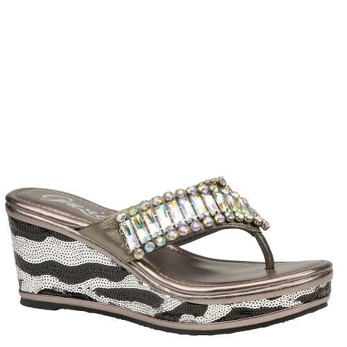 Grazie Women'S Flared Wedge Sandal,Pewter,6.5 B Us front-810640