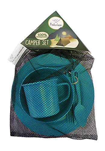 Premium Eco-Friendly, Bamboo Fiber Camping Set, Blue. Biodegradable. Lightweight, Practical, Perfect For Boys and Girls Scout Trips, School Camps, Family