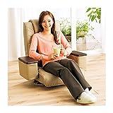 本革ハイバックリクライニング回転座椅子 小物収納スペース/肘付き モカ