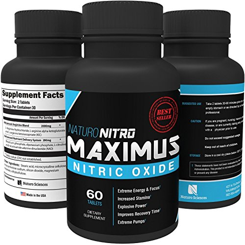 Maximus NO2 Nitric Oxide Tablets — High Potency NO Booster and L-arginine Supplement - Allows You to Build Muscle Faster, Workout and Train Longer and Harder — 60 Tablets