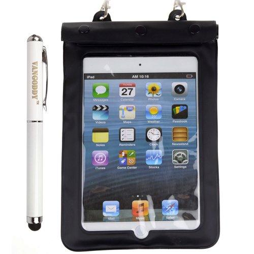 Black Waterproof Pouch Sleeve With Waterproof External Earphone / Accessory Jack For Ipad Mini / Ipad Mini With Retina Display + Vangoddy Stylus Pen