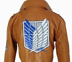 俺の コスプレ 進撃の巨人 調査兵団 PU レザー ジャケット 自由の翼 レディース サイズS 【c84】