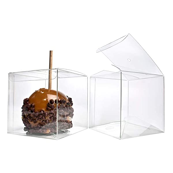 4 x 4 x 4 Candy Apple Box With Hole Top | 25 Boxes | ClearBags Boxes For Caramel Apples, Ornaments, Treats, Party Favors | Food Safe, Material | FS56A (Color: Clear, Tamaño: 4 x 4 x 4)