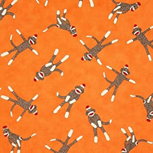 Moda 5 Funky Monkeys Sock Monkey Orange, 44-inch (112cm) Wide Cotton Fabric Yardage