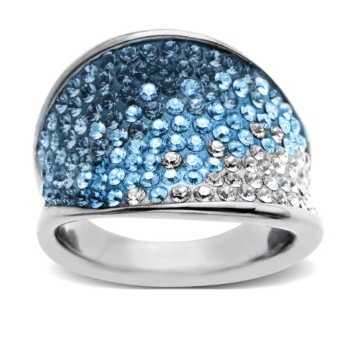 Carnevale Sterling Silver Blue Wave Shape with Swarovski Elements Ring, Size 7