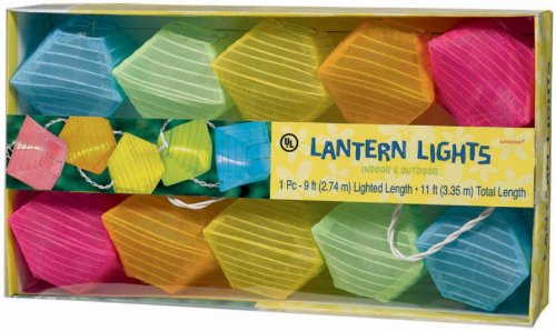 Grasslands Road Pyramid Multi Color Patio Lantern 10 Light Set, 11-Foot front-88396