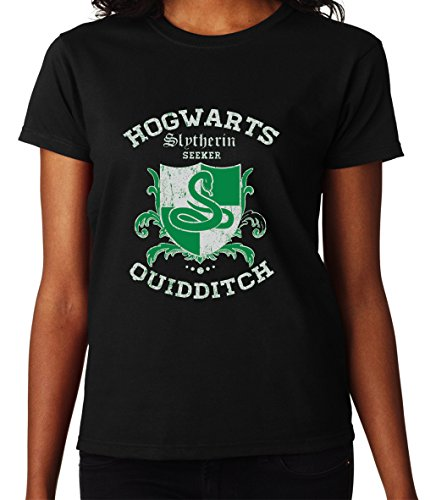 Hogwarts Slytherin Quidditch Seeker Harry Potter Awesome Design Women Donna Black T-shirt