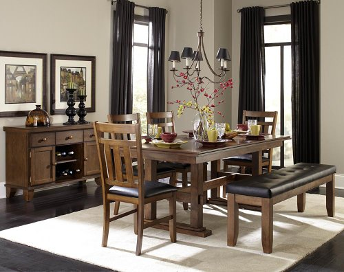 Homelegance Kirtland 7 Piece Double Pedestal Dining Room Set In Warm Oak