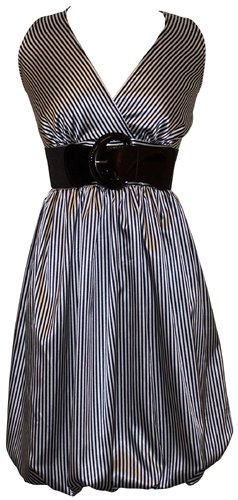 Pinstriped Satin Belted Bubble Dress Plus Size