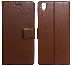 MACC Business Premium Faux Leather Flip Case Flip Cover for OnePlus X - with Stand , Magnetic Lock, Card & Currency Wallet - ( Cocoa Brown ) + Free Tempered Glass Screen Protector