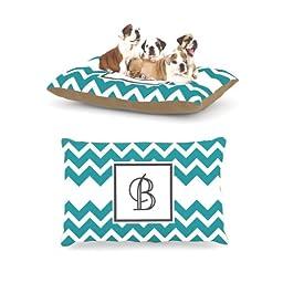 Kess InHouse Chevron Blue Teal Fleece Dog Bed, 30 by 40-Inch, Monogram Letter-B