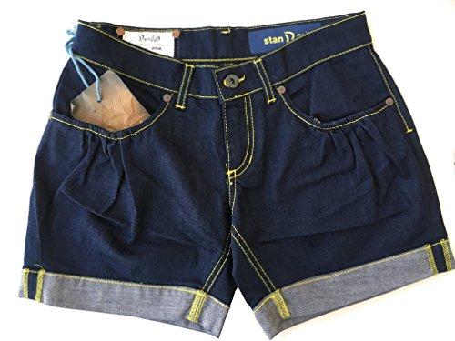 Dondup Pantaloncino Misia Donna Jeans scuro con cuciture gialle Size 26 Taglia Italiana 40