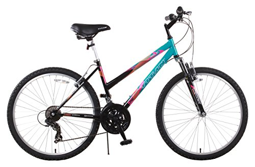TITAN Trail 21-speed Suspension Women's Mountain Bike, 17-Inch Frame, Black and Teal