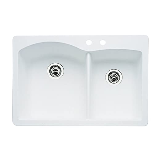 Blanco 440216-2 Diamond 2-Hole Double-Basin Drop-In or Undermount Granite Kitchen Sink, White