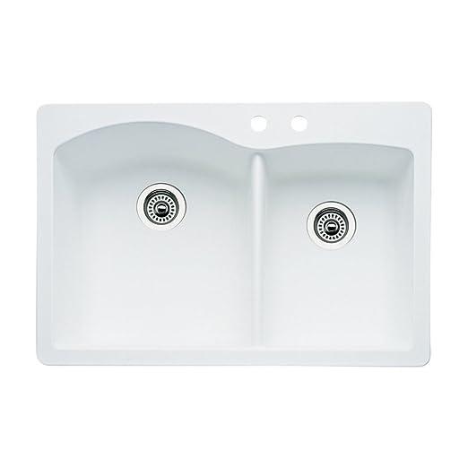 Blanco 440216-2 Diamond 2-Hole Double-Basin Drop-In or Undermount Granite Kitchen Sink, White
