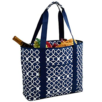 Picnic at AscotExtra Large Insulated Cooler Bag - 30 Can Tote - Trellis Blue