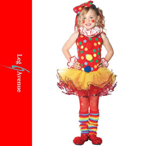 5PC.Circus Clown,dress,wrist cuffs,neck piece,leg warmers,headband XS MULTICOLOR