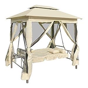 Luxus pavillon schaukelstuhl sonnenliege cremewei f r den for Schaukelstuhl aussenbereich