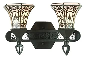 Stained Glass Vanity Light Fixtures : World Imports WI7482 Stained Glass / Tiffany 2 Light Bathroom Fixture from the Classically Retro ...