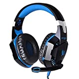 G2000 Stereo Gaming Headset for PS4 Xbox One, Bass Over-Ear Headphones with Mic, LED Lights and Volume Control for Laptop, PC, Mac, iPad, Computer, Smartphones, Blue(blue) (Color: blue)